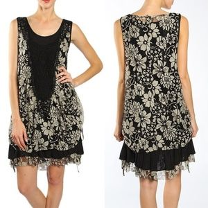Plus Floral Crochet Lace Overlay Ruffle Dress